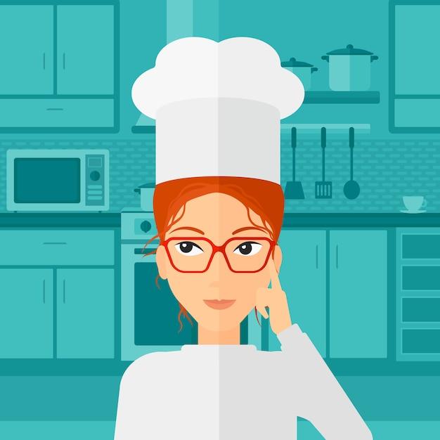 Chef, apontando o dedo indicador acima. Vetor Premium