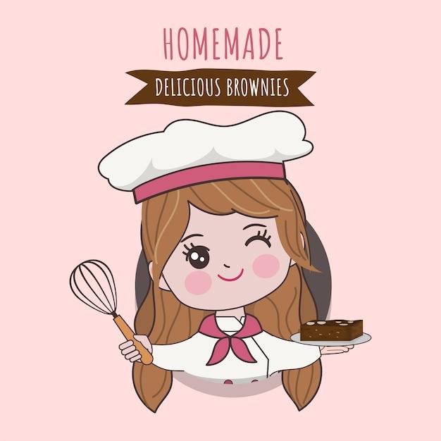 Chef bonito de mulher está cozinhando o personagem. ilustração de mão desenhada. Vetor Premium