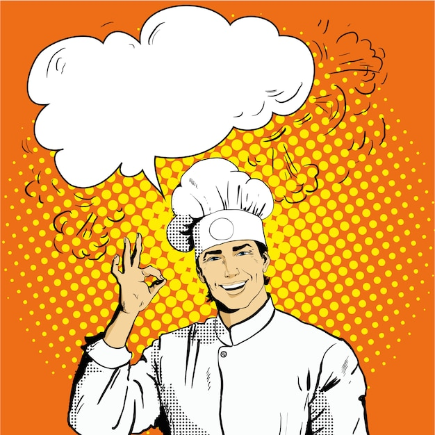 Chef com bolha do discurso mostra sinal de ok Vetor Premium