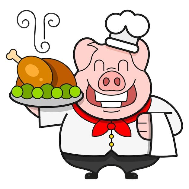 Chef com pato assado em uma bandeja, bon appetit. Vetor Premium