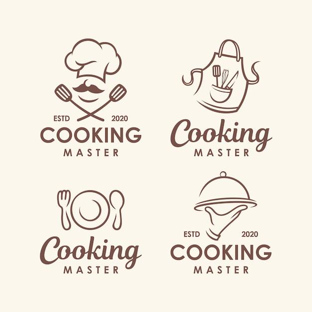 Chef, cozinha conjunto de modelo de logotipo. Vetor Premium