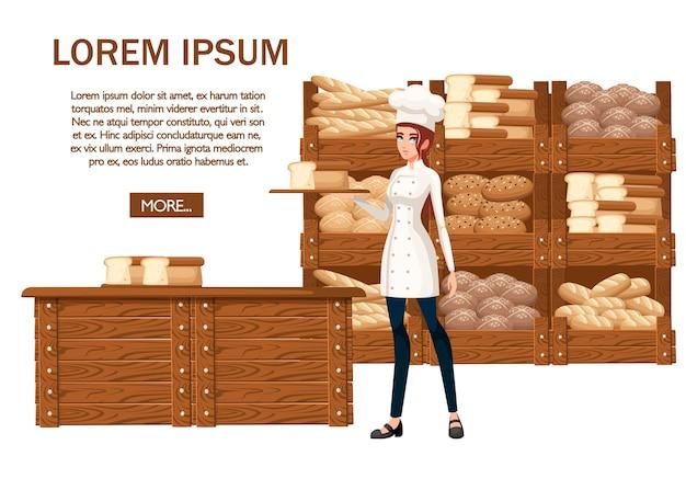 Chef de padaria de mulheres. ilustração em fundo branco. Vetor Premium