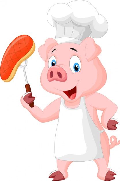 Chef de porco com bife assado Vetor Premium