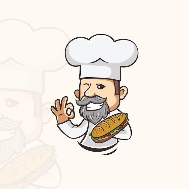 Chef de sanduíche caracter Vetor Premium