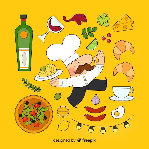Chef e ingredientes Vetor grátis