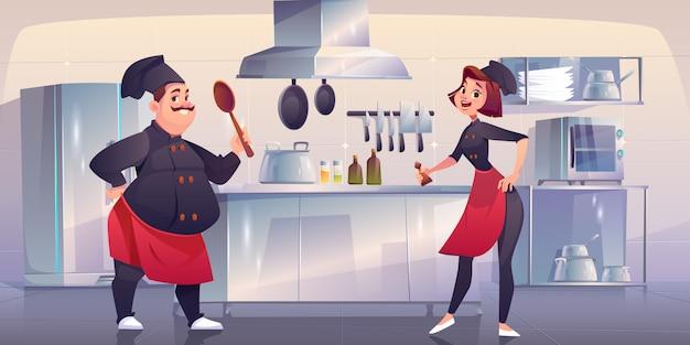 Chef e sous chef na cozinha. funcionários do restaurante Vetor grátis