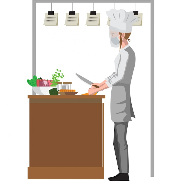 Chef está cortando legumes para cozinhar ingredientes Vetor Premium