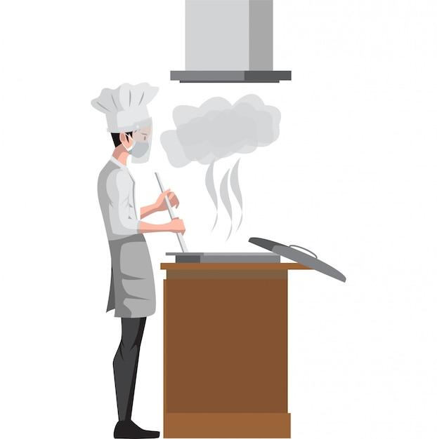 Chef está cozinhando na ilustração a cozinha Vetor Premium