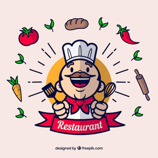 Chef feliz e ingredientes com design plano Vetor grátis