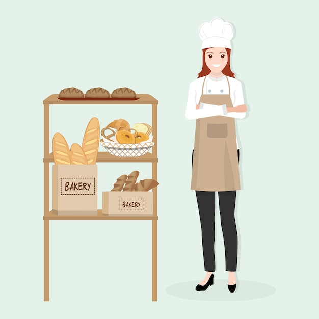 Chef feminino com ilustração de padaria Vetor Premium