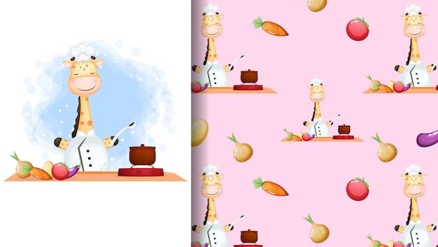 Chef girafa fofa feliz sorrindo cozinhar cartaz de personagem de desenho animado e padrão sem emenda Vetor Premium