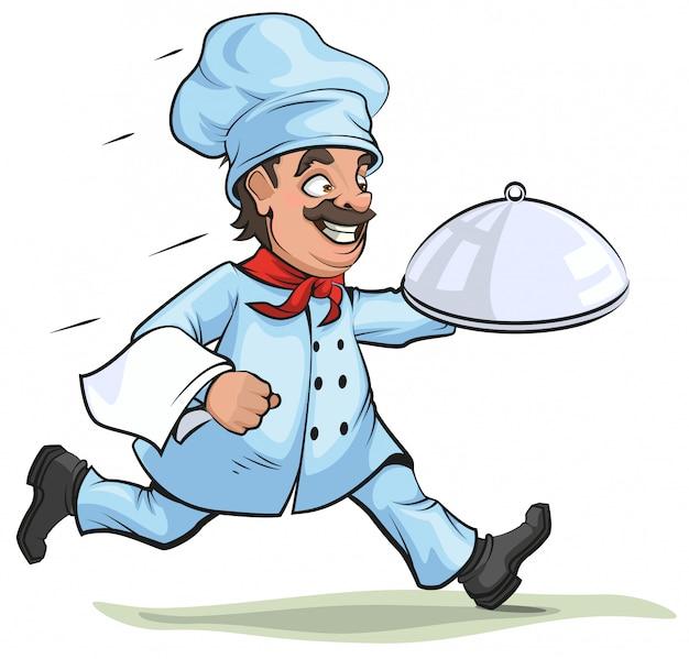 Chef masculino leva prato acabado no prato Vetor Premium