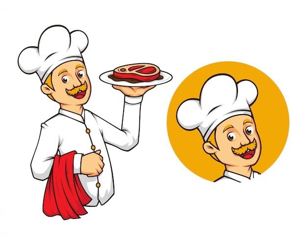 Chef ocidental com mascote de bife Vetor Premium