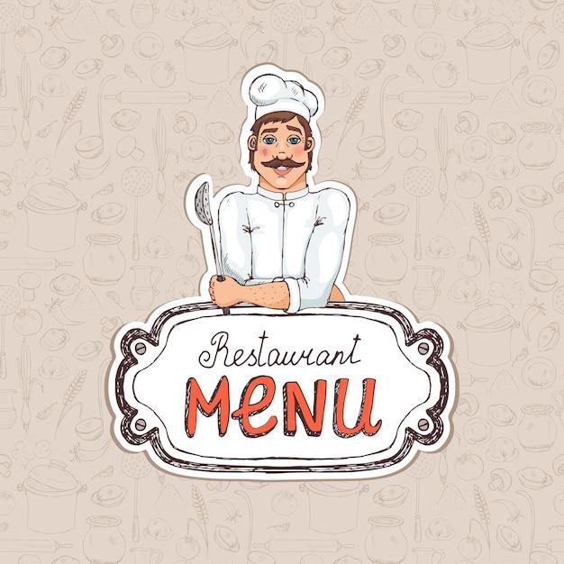Chef segurando uma colher no cardápio do restaurante, desenhando ilustração para capa ou propaganda Vetor grátis