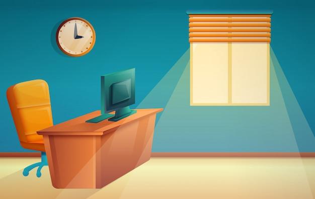 Chefe de escritório bonito dos desenhos animados, ilustração vector Vetor Premium
