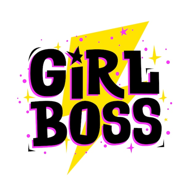 Chefe de menina. slogan feminista de vetor. impressão elegante para roupas de meninas, cartões de festa e acessórios para adolescentes. Vetor Premium