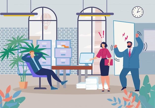 Chefe e gerente gritando no desenho animado trabalhador preguiçoso Vetor Premium