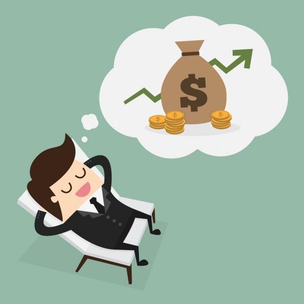 Chefe pensando em dinheiro Vetor grátis