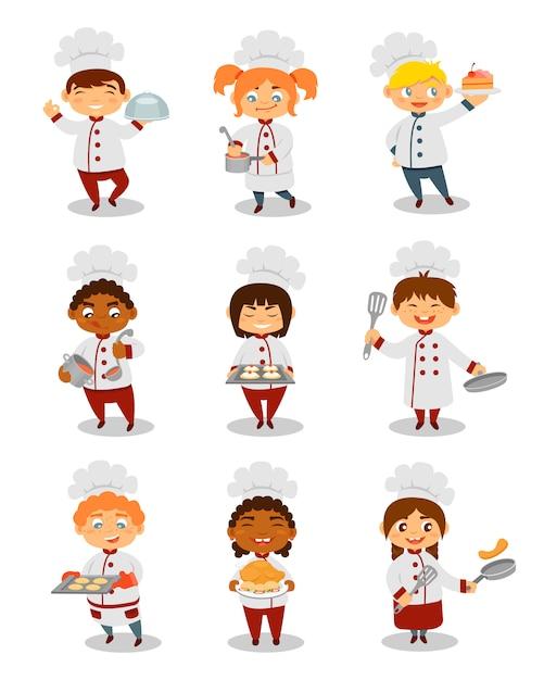 Chefs de crianças cozinhar conjunto, personagens fofinhos de meninos e meninas, preparando a refeição ilustrações sobre um fundo branco Vetor Premium