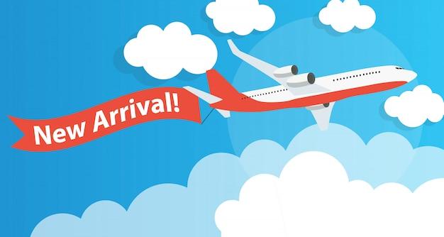 Chegada nova publicidade com o avião. ilustração vetorial Vetor Premium