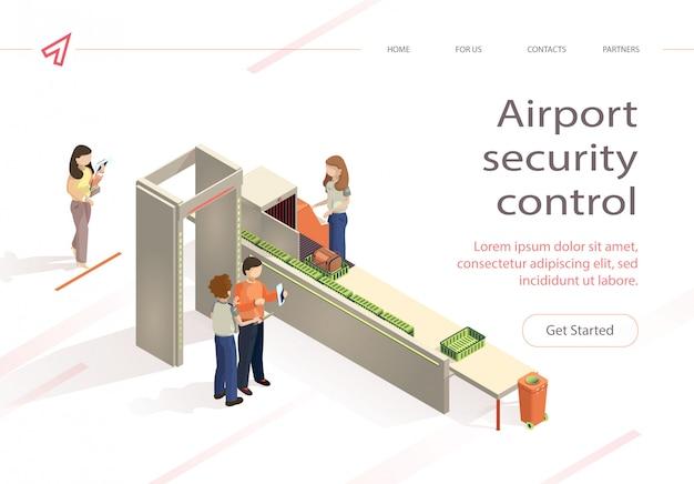 Cheque de bagagem de controle de segurança de aeroporto de vetor plana Vetor Premium