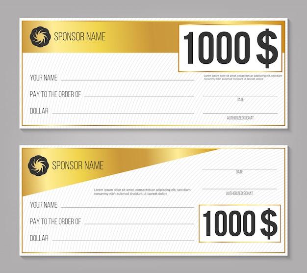 Cheque vencedor do evento de pagamento Vetor Premium