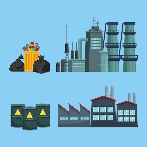 Chimeny e fábrica poluindo com lixo e barris Vetor Premium