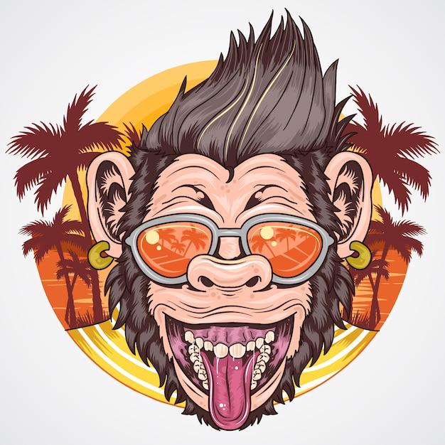 Chimpanzee verão sorriso e feliz com árvore de coco na praia Vetor Premium