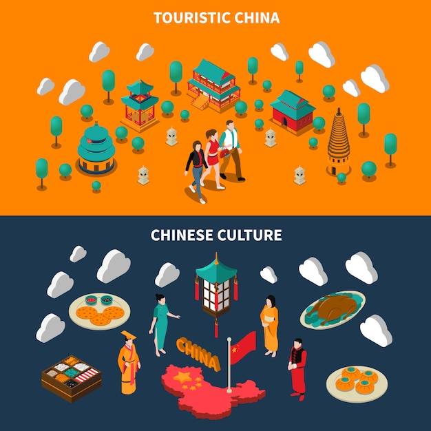 China banners isométricas turísticas Vetor grátis