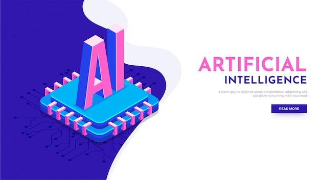Chip do processador para o conceito de inteligência artificial (ai). Vetor Premium