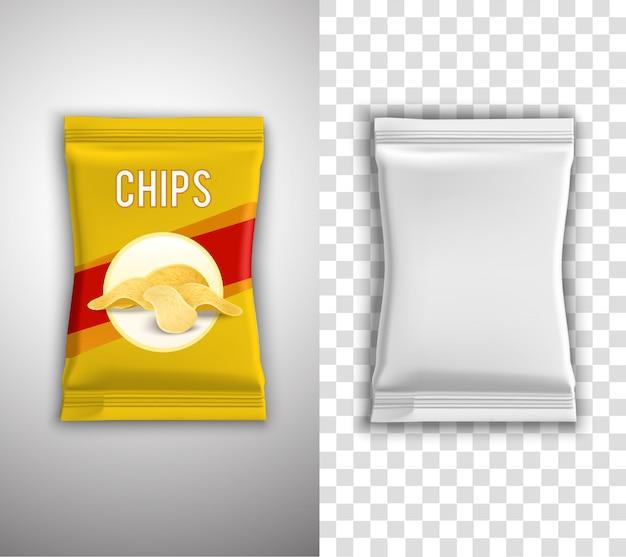 Chips design de embalagem Vetor grátis