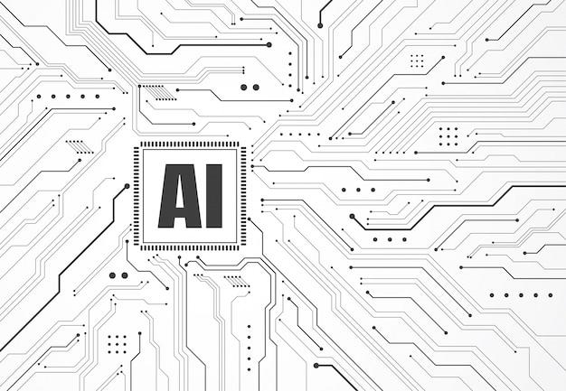 Chipset de inteligência artificial na placa de circuito Vetor Premium