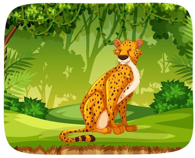 Chita na cena da selva Vetor grátis