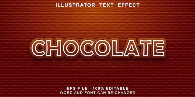 Chocolate com efeito de texto editável Vetor Premium