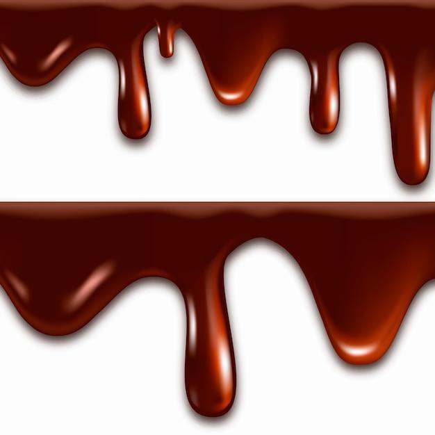 Chocolate derretido realista Vetor Premium