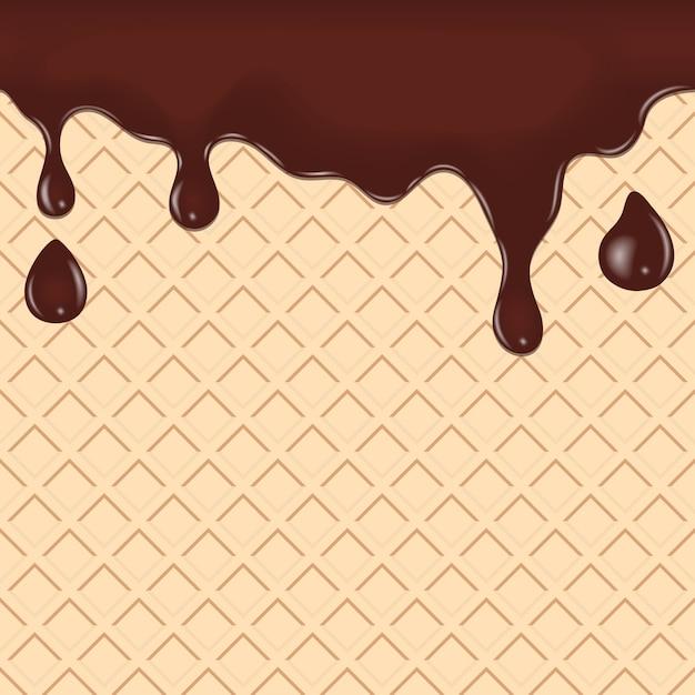 Chocolate escorrendo, pingando no waffle. bolinho de bolacha fundo de comida sem costura. Vetor Premium