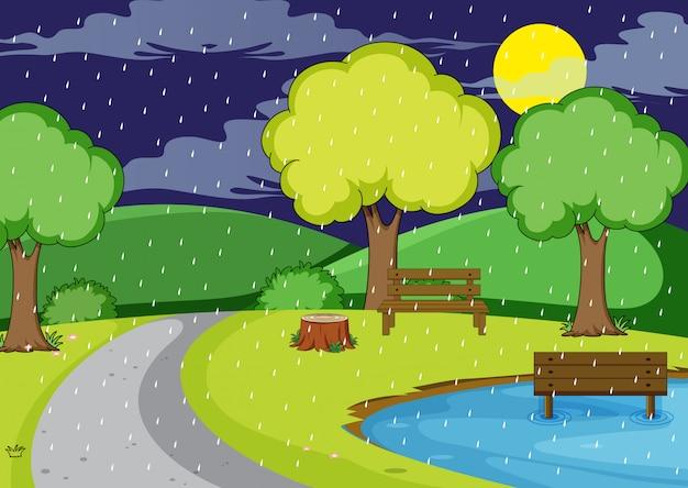 Chovendo noite no parque Vetor Premium