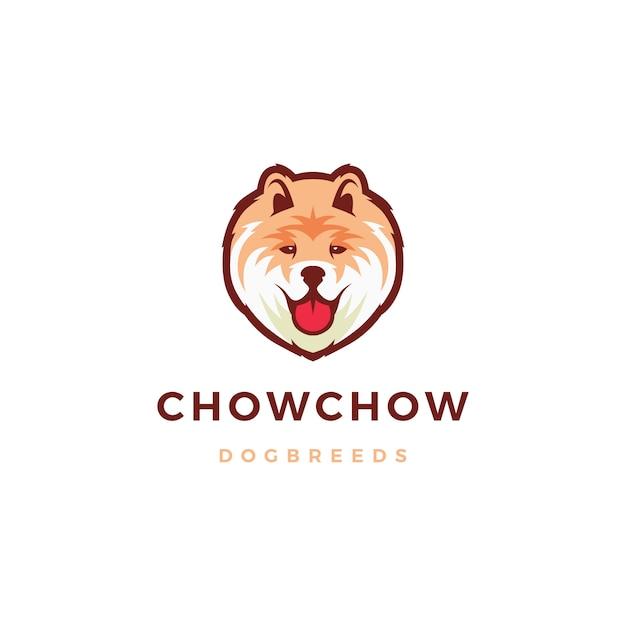 Chow chow cachorro logotipo icon ilustração Vetor Premium
