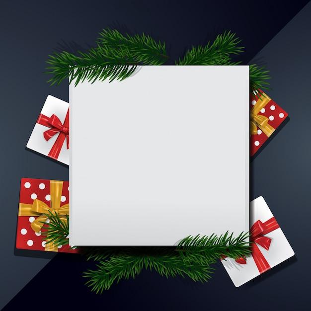 Christmas background frame blank template Vetor Premium