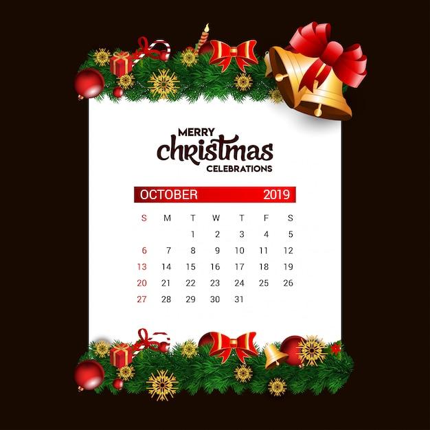 Christmas bell 2019 outubro calendário Vetor Premium