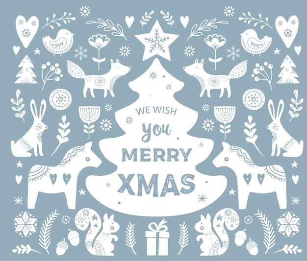Christmas s, elementos de banner desenhado à mão em estilo escandinavo Vetor Premium
