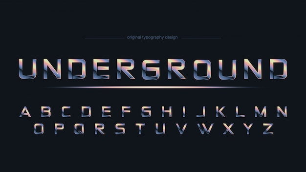 Chrome abstract sports typography Vetor Premium