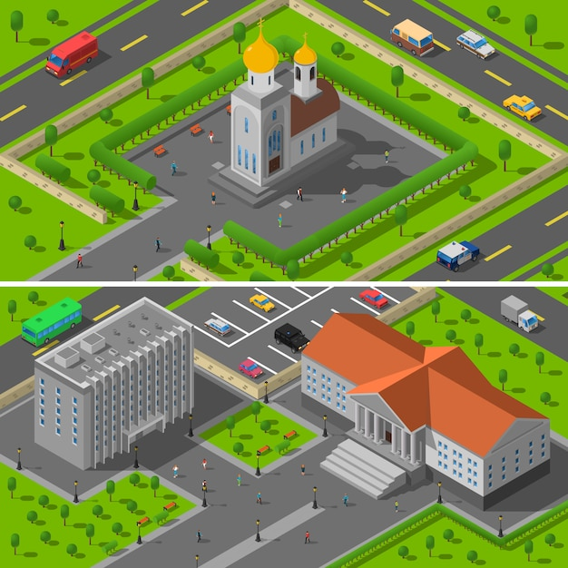 Church state building isometric 2 banners Vetor grátis