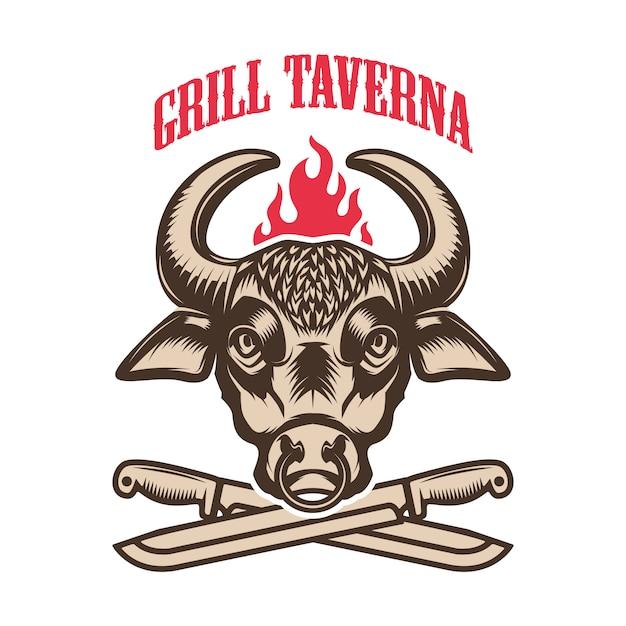Churrascaria. cabeça de touro e facas cruzadas. elemento para o logotipo, etiqueta, emblema. ilustração Vetor Premium