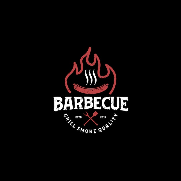 Churrasco bbw grill restaurante comida bebida logotipo - elemento de espátula de salsicha de carne de fogo Vetor Premium