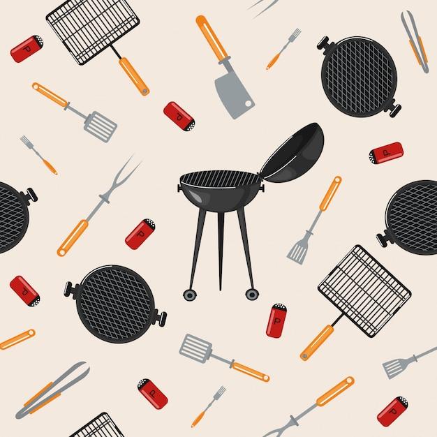 Churrasco de churrasco padrão sem emenda com ferramentas de cozinha Vetor Premium