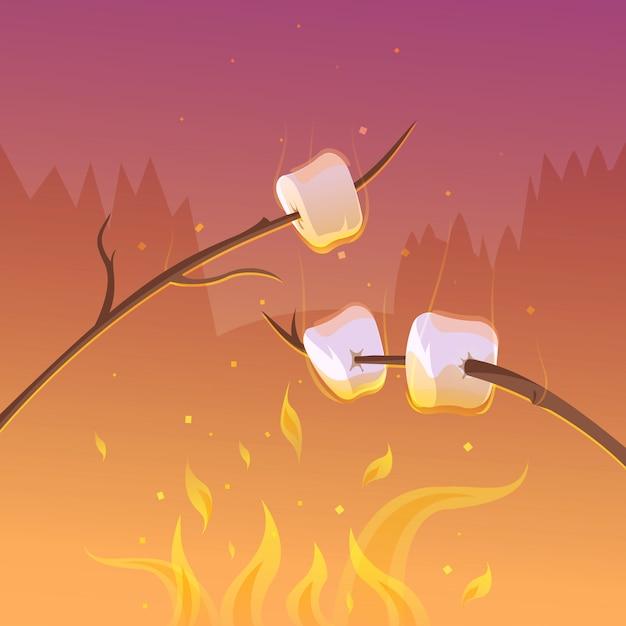 Churrasco e caminhadas no fundo de desenhos animados à noite com paus e ilustração vetorial de fogo Vetor grátis