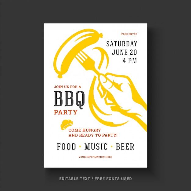 Churrasco festa vector panfleto ou cartaz design modelo evento retrô tipografia. Vetor Premium