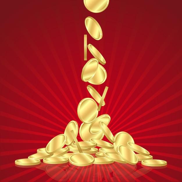 Chuva de dinheiro dourado, caindo moedas de ouro sobre fundo vermelho. Vetor Premium