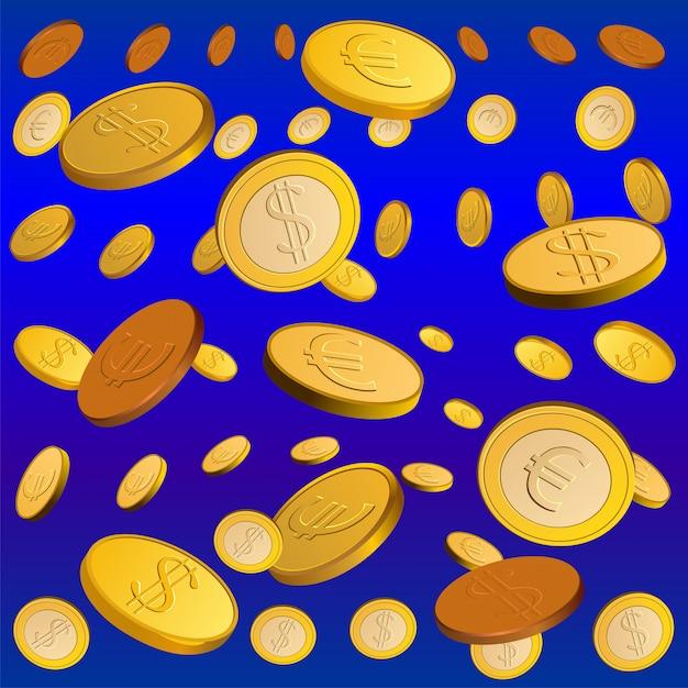 Chuva dourada de moedas. conceito de dinheiro Vetor Premium